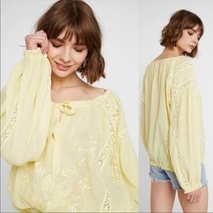 NWT Free People Maria Maria Yellow Peasant Top